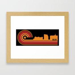 Retro Biloxi Mississippi Skyline Framed Art Print