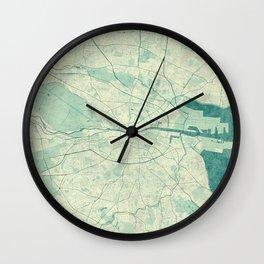 Dublin Map Blue Vintage Wall Clock