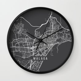 Malaga Map, Spain - Gray Wall Clock