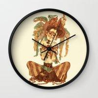 pirate Wall Clocks featuring Pirate by Fabio Mancini