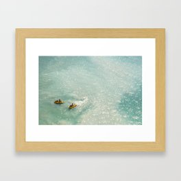 Jet Ski Friends in the Ocean   Paradise   Beach Mood   Aerial Photography   Ocean Print Framed Art Print