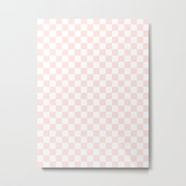 Small Checkered - White and Pastel Pink Metal Print