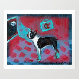 Boston Terrier senses smiling moon Art Print