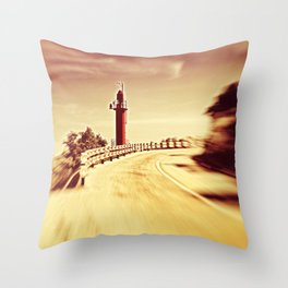Lighthouse on the road Throw Pillow