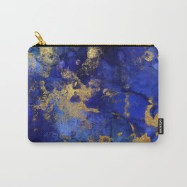 Gold And Blue Indigo Malachite Marble Carry-All Pouch