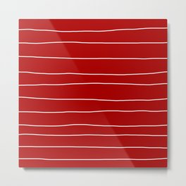 Abstract White Lines on Red Metal Print