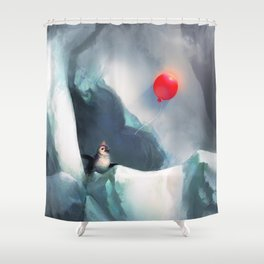 Heart Penguin Shower Curtain
