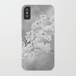 Black and White Floral Photography, Grey Silver Flower Art, Gray Nature Botanical Spring Photo iPhone Case