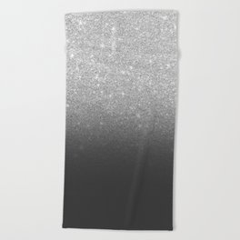 Modern faux silver glitter ombre grey black color block Beach Towel