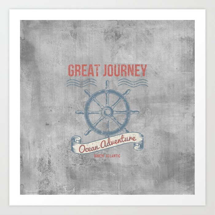 Maritime Design- Great Journey Ocean Adventure on grey abstract background #Society6 Art Print