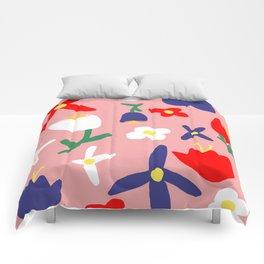 Large Handdrawn Bacchanal Floral Pop Art Print Comforters