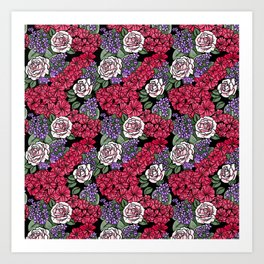 Chevron Floral Black Art Print