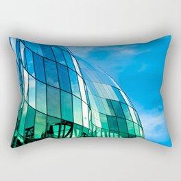The Sage Gateshead reflecting the Quayside and Tyne Bridge in Newcastle upon Tyne Rectangular Pillow
