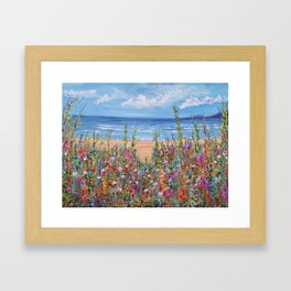 Summer Beach, Impressionism Seascape Framed Art Print