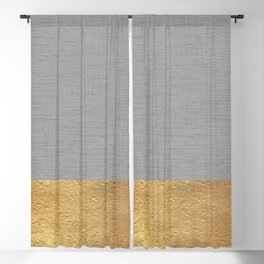 Color Blocked Gold & Grey Blackout Curtain