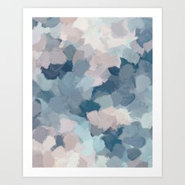 Mint Aqua Navy Indigo Blue Blush Pink Abstract Painting, Modern Wall Art Paint Strokes Random Art Print