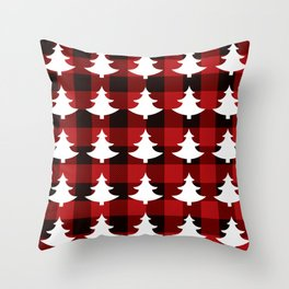 Red Buffalo Plaid Trees Throw Pillow