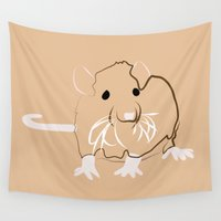 rat Wall Tapestries featuring Rat by Jessica Slater Design & Illustration