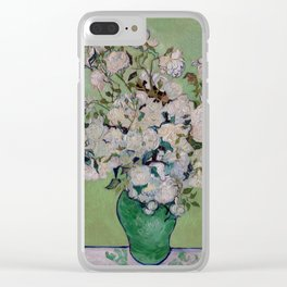 Vincent van Gogh Vase with Pink Roses Clear iPhone Case