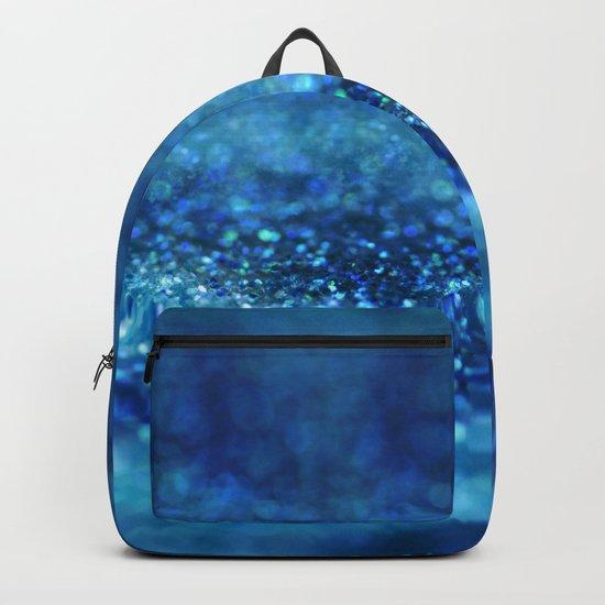 Aqua Glitter effect- Sparkling print in different blue Backpack