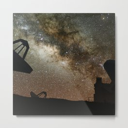Radio Telescopes and Milky Way Metal Print