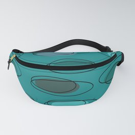 Mid Century Modern Ovals Scribbles Teal Fanny Pack