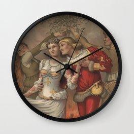 Vintage Christmas Romance Under The Mistletoe (1886) Wall Clock