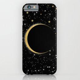 Black & Gold Magic Moon iPhone Case