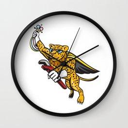 Refrigeration Mechanic Leopard Superhero Cartoon Wall Clock