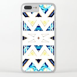 Triangular Pattern in Gold, Black and Blue Clear iPhone Case