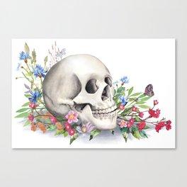Skull Still Life With Wild Flowers Canvas Print