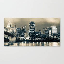 Cincinnati Panoramic Night Skyline - Sepia Edition Canvas Print