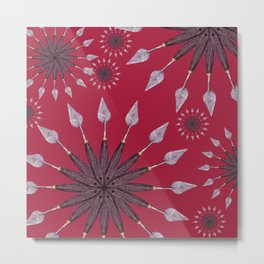 Christmas snowflake on red background Metal Print