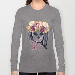 Flower Head Skull Long Sleeve T-shirt
