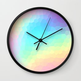 Pastel Rainbow Gradient With Stained Glass Effect Wall Clock