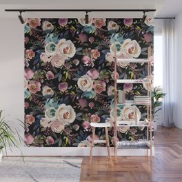 Blush pink teal lilac ivory watercolor modern roses Wall Mural