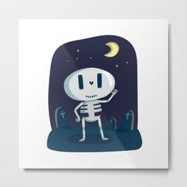 Skeleton Boy - Halloween Cartoon Character Metal Print