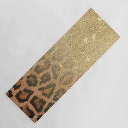 Brown faux gold glitter cheetah animal print gradient Yoga Mat
