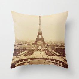 Eiffel Tower and Champ de Mars 1889 Paris Throw Pillow
