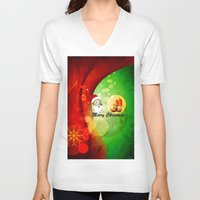 merry christmas V-neck T-shirts featuring Merry christmas by nicky2342
