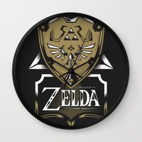 zelda Wall Clocks featuring Zelda v89 by Victor Berbel