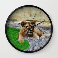 lion king Wall Clocks featuring King Lion by helsch photography
