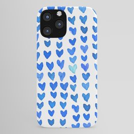 Brush stroke hearts - blue iPhone Case