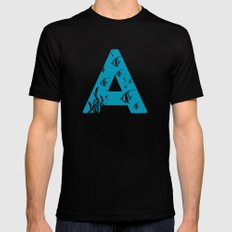 A is for Angelfish - Animal Alphabet Series Black Mens Fitted Tee MEDIUM