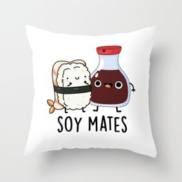 Soy Mates Cute Soya Sauce Pun Throw Pillow