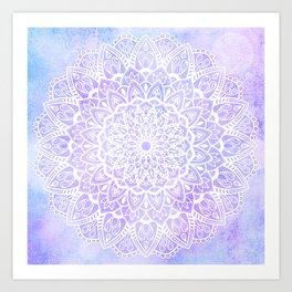White Mandala on Pastel Blue and Purple Textured Background Art Print