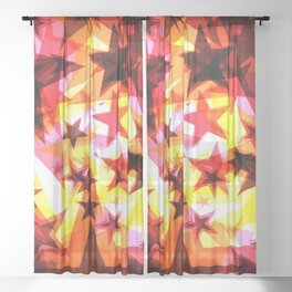 Bright glowing orange golden stars on a light background in the projection. Sheer Curtain