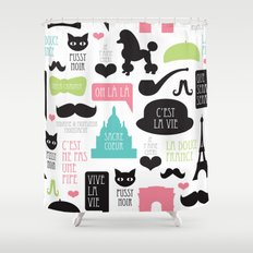 Vintage style Paris typography and illustration pattern Shower Curtain