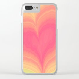 Abstract Tropical Pastel Rainbow Heart Pattern | Valentine's Day Clear iPhone Case