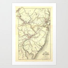 Vintage New Jersey Railroad Map (1869) Art Print
